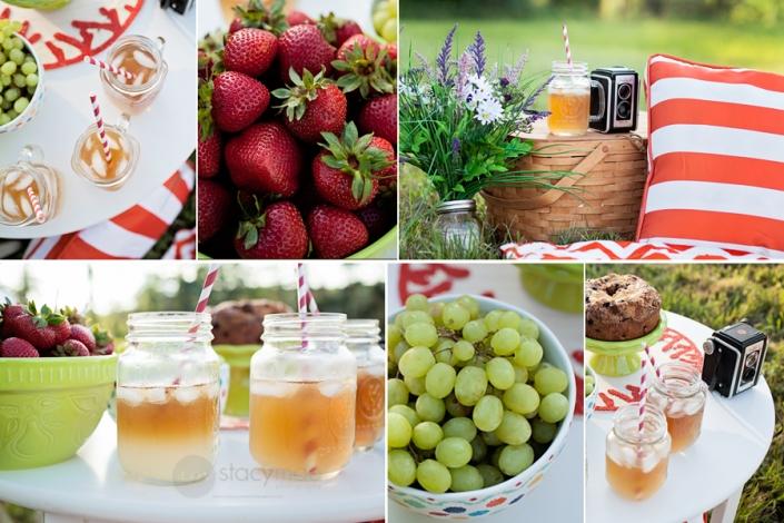 eau detox fraise panier pour pique nique en famille