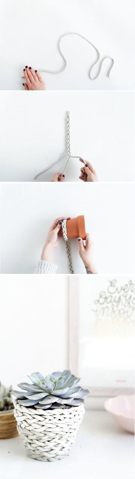 PUNTXET Decorar una maceta con una trenza de arcilla #DIY #decoracion #handmade #manualidades