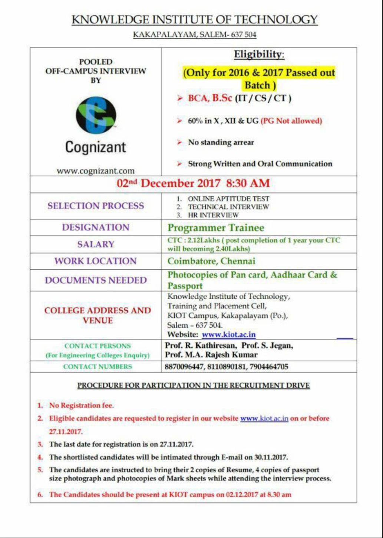 Cognizant Off Campus Recruitment Drive 2017 December LATEST