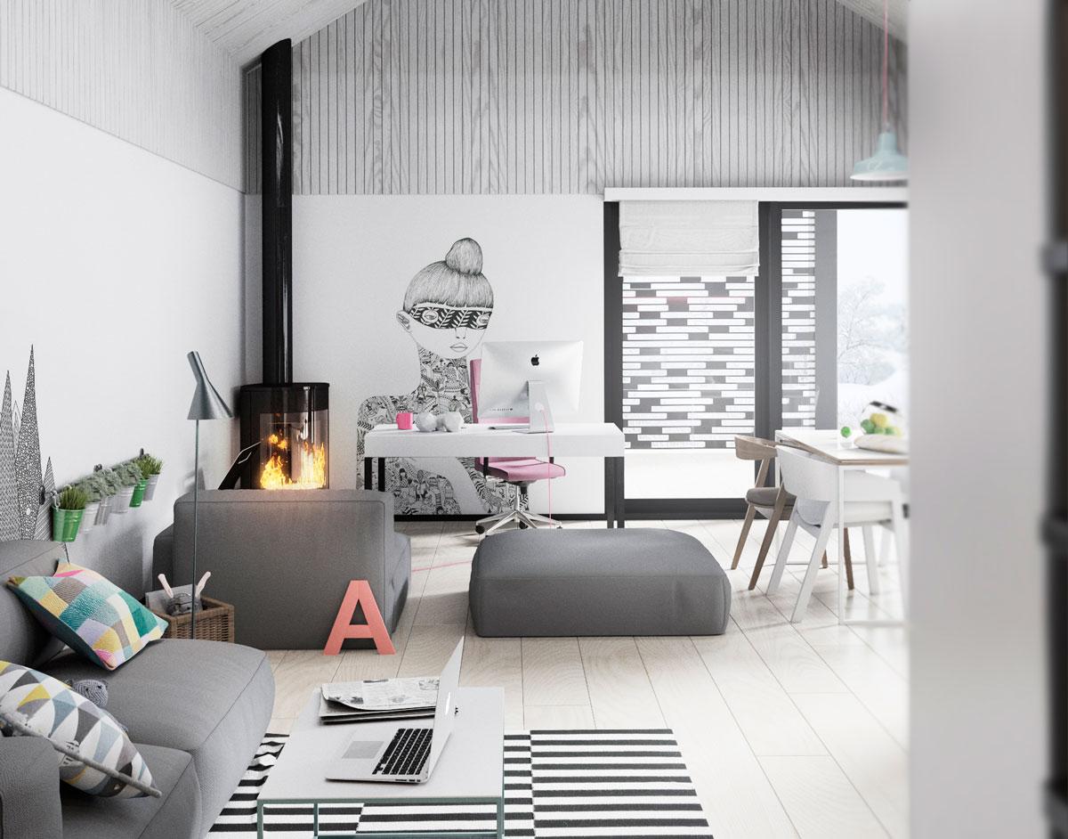 Culoare și multă personalitate într-un proiect de amenajare a unei case de 83 m²