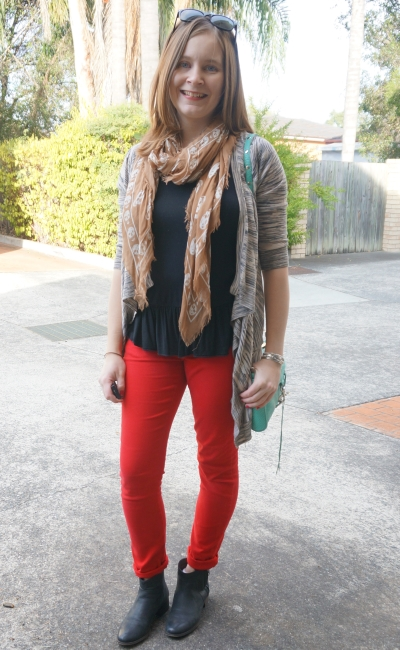 neutral layers with red skinny jeans and ankle boots | Away From Blue Blogger