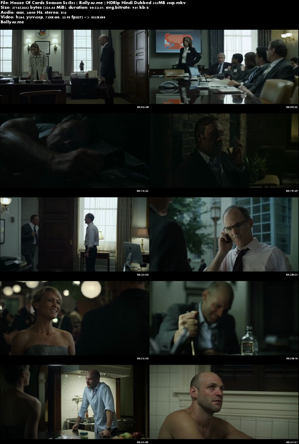 House Of Cards S01E05 HDRip 350MB Hindi Dubbed 480p Download