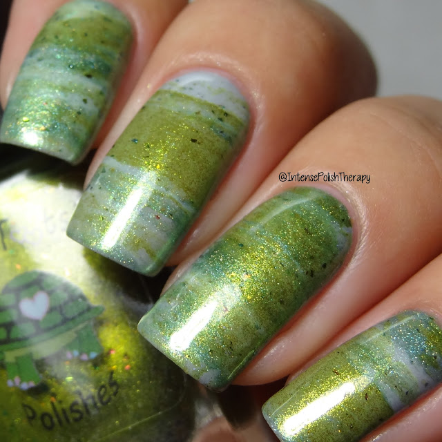 Smoosh Nail Art using Turtle Tootsie Polishes St. Patrick's Day Trio