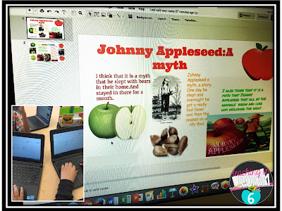 Using Google Slides to create a shared presentation about facts and legends of Johnny Appleseed