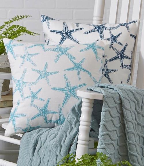 Blue Coastal Beach Starfish Outdoor Pillows Large