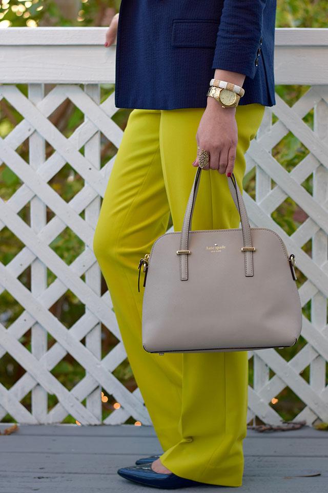 Banana Republic Logan Chartreuse Trousers - Navy blazer - fall style - Haute Hijab - Lace blouse - Kate Spade Cedar Street Maise