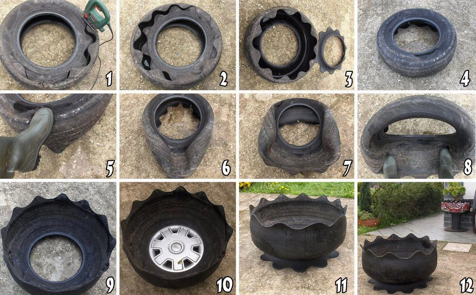 douzeo un pot de fleur avec un vieux pneu de voiture. Black Bedroom Furniture Sets. Home Design Ideas