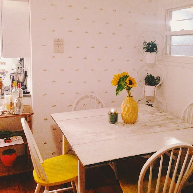 gold stamped accent wall, VW stamp, DIY wallpaper
