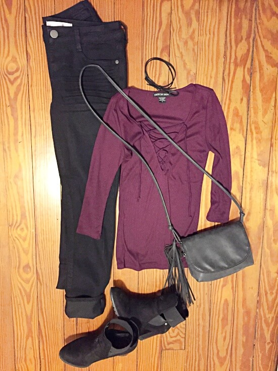 ribbed burgundy lace up shirt outfit of the day