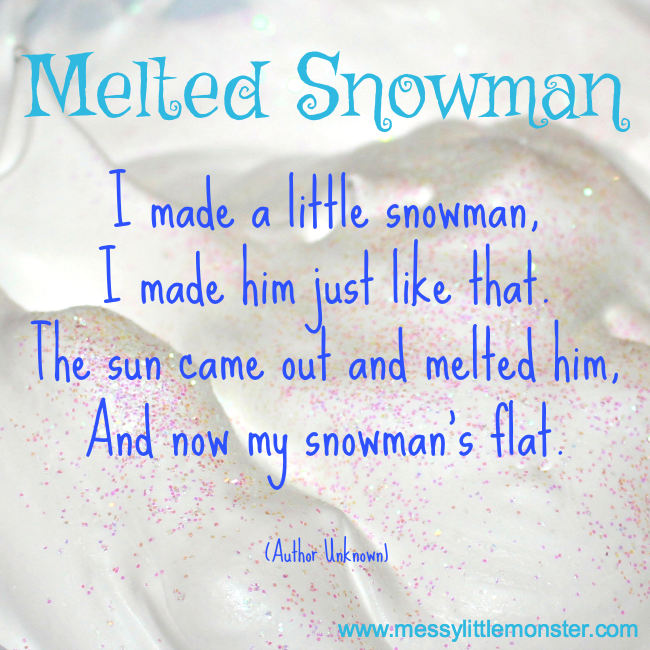 Melted snowman poem for kids