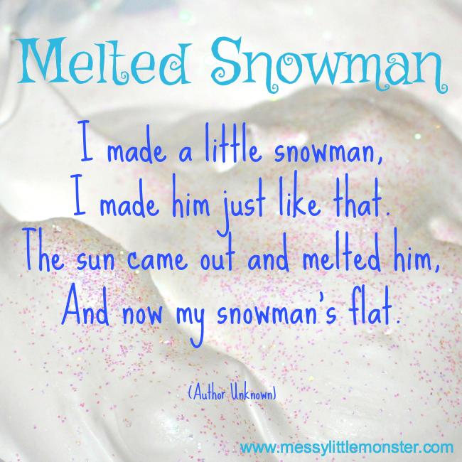 Melted snowman poem for kids