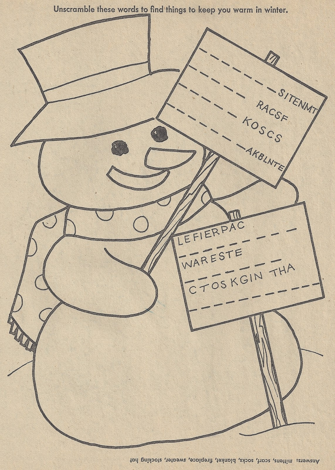 Elementary School Enrichment Activities Snowman Worksheets