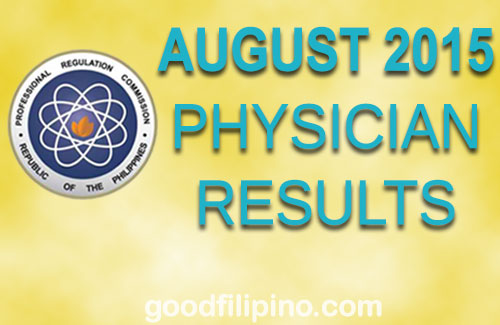 August 2015 Physician PRC Board Exam Results - Doctors List of Passers