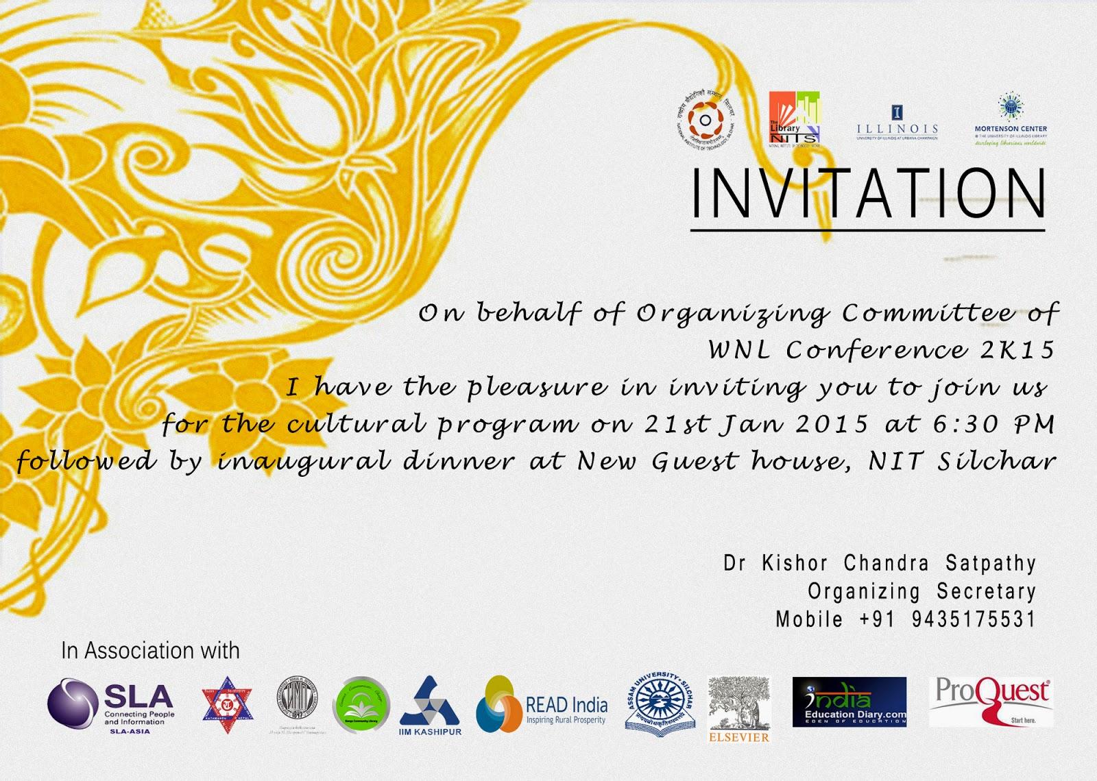 alumni meet invitation wordings for dinner