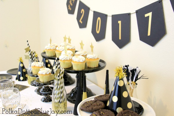 Click here for a quick and easy Gold and Black New Year's Eve Party I created on a budget!
