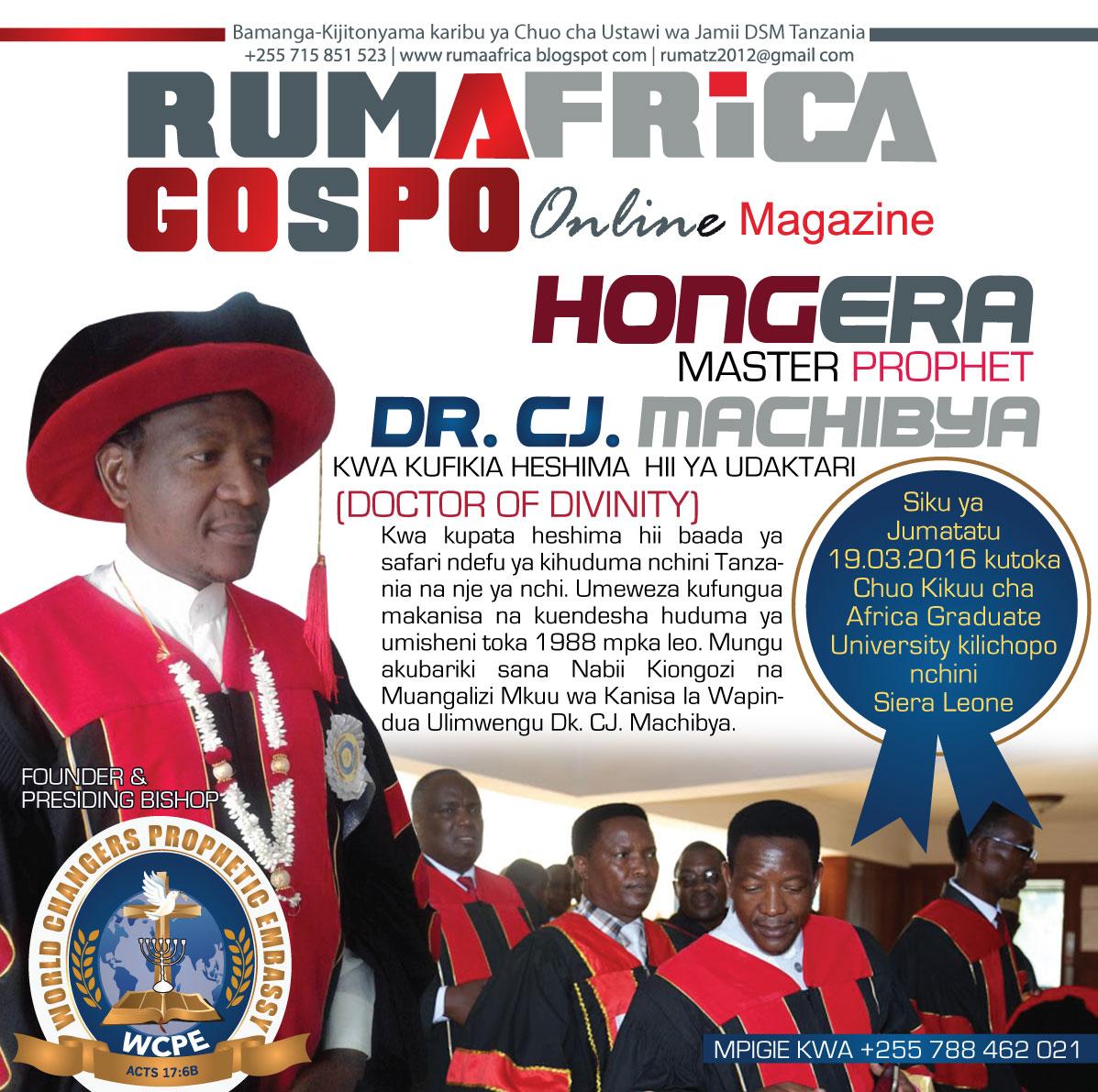 MASTER PROPHET/DR.CJ. MACHIBYA: RUMAFRICA YAMPONGEZA ...