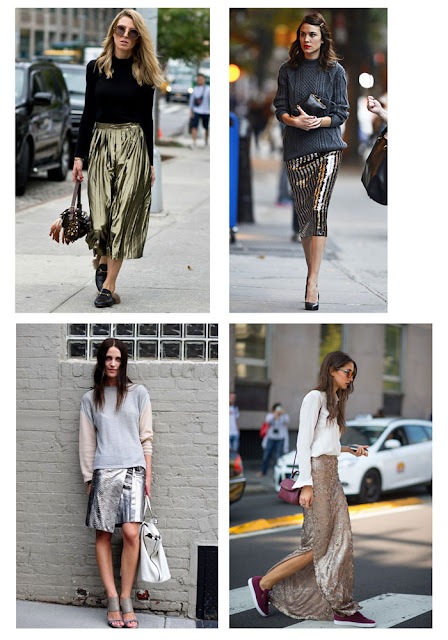 Металлизированная юбка с водолазкой, свитером, свитшотом и рубашкой
