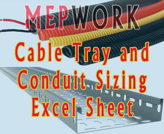Electrical, Cable Tray, Conduit, Cable Tray Sizing, Excel, Excel Sheets, Calculator, xls,