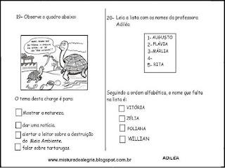 Simulado de avaliação de português 3º ano