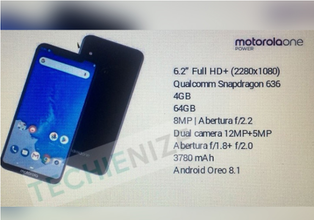 Motorola One Power once again in the discussion, leaked specification of camera and display