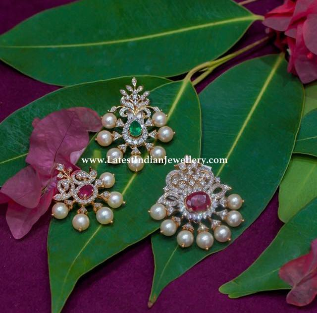 Simple Diamond Pendants by Manjula