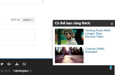 Bài viết liên quan dạng popup khi cuộn trang cho blogspot