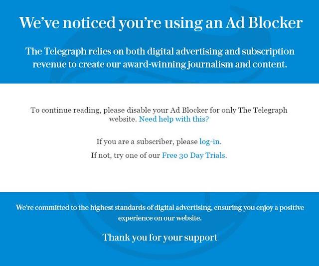 Telegraph Newspaper blocks users with ad blocker
