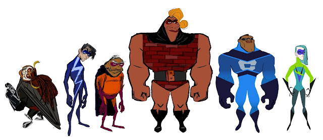 Incredibles 2 Screech, He-Lectrix, Reflux, Brick, Krushauer, Voyd concept artwork