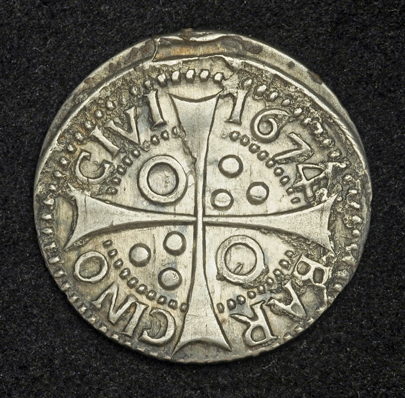 Spanish Real Croat Silver Coin Of 1674 King Charles Ii