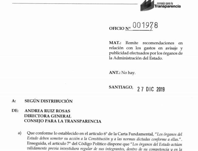 CPLT oficia a organismos públicos para transparentar gasto en publicidad y difusión