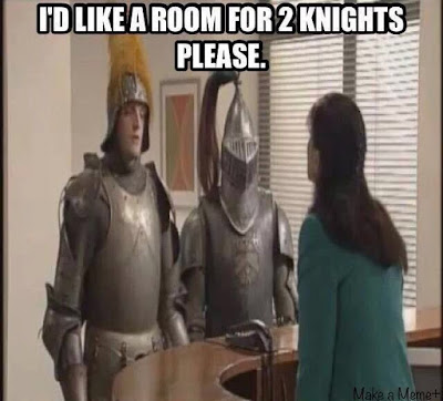 Funny Room For Two Knights Pun Picture
