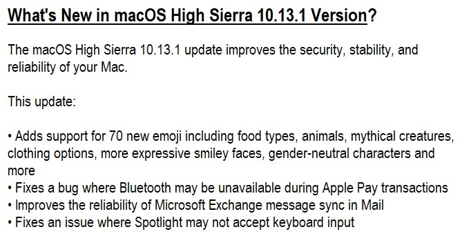 macOS High Sierra 10.13.1 Features & Changelog