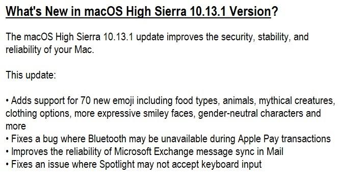 macOS High Sierra 10.13.1 Features & Changelog