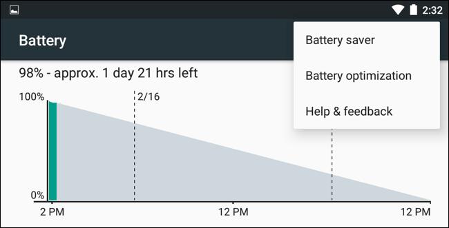 Menù risparmio batteria Android