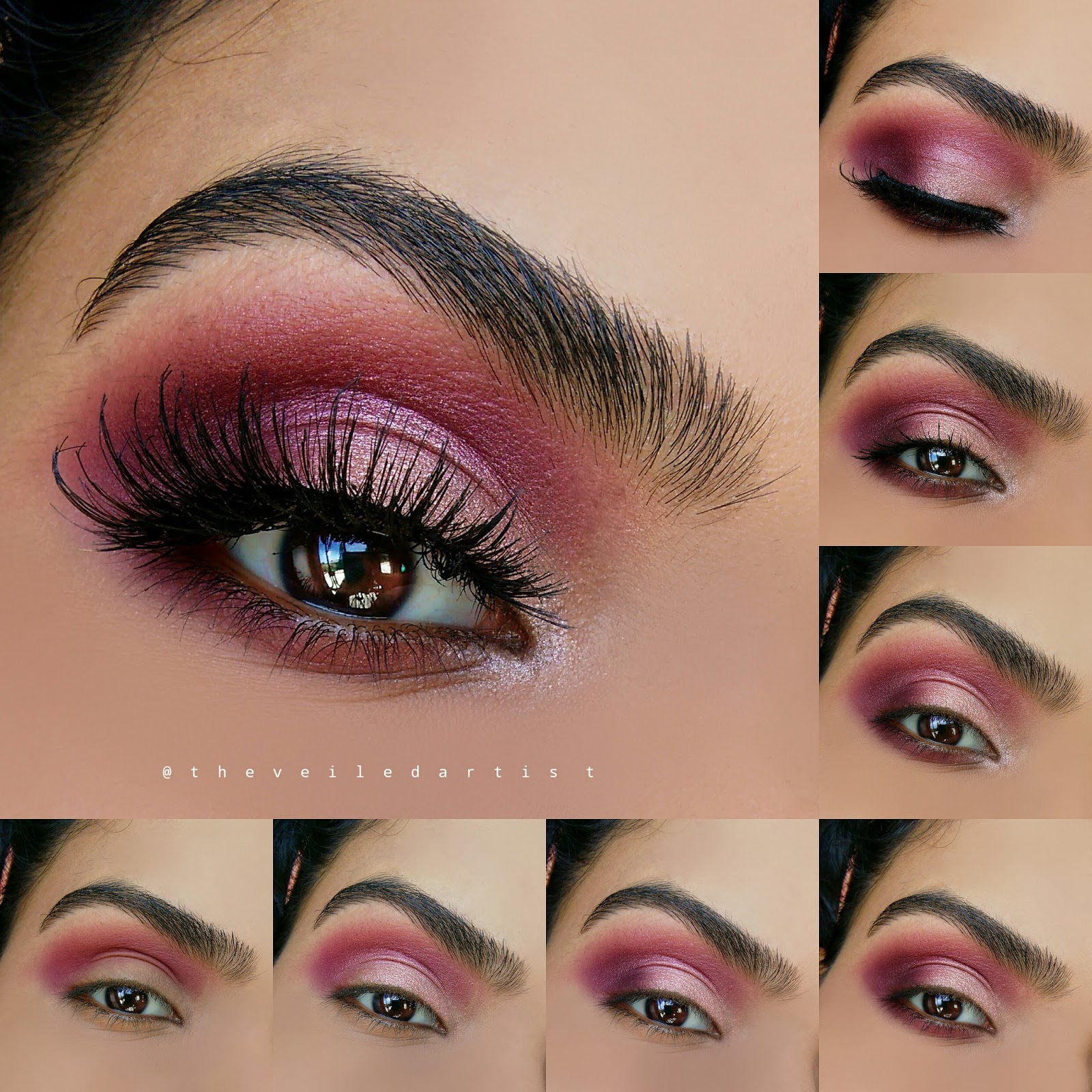 Romantic Shimmery Pink And Burgundy Smokey Eyes Tutorial Fall
