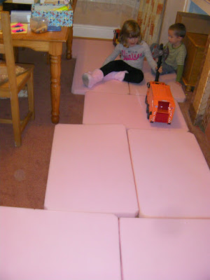 sheets of comfortable pink shipping foam