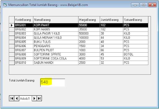 Cara Menghitung Jumlah Total di Datagrid VB 6.0