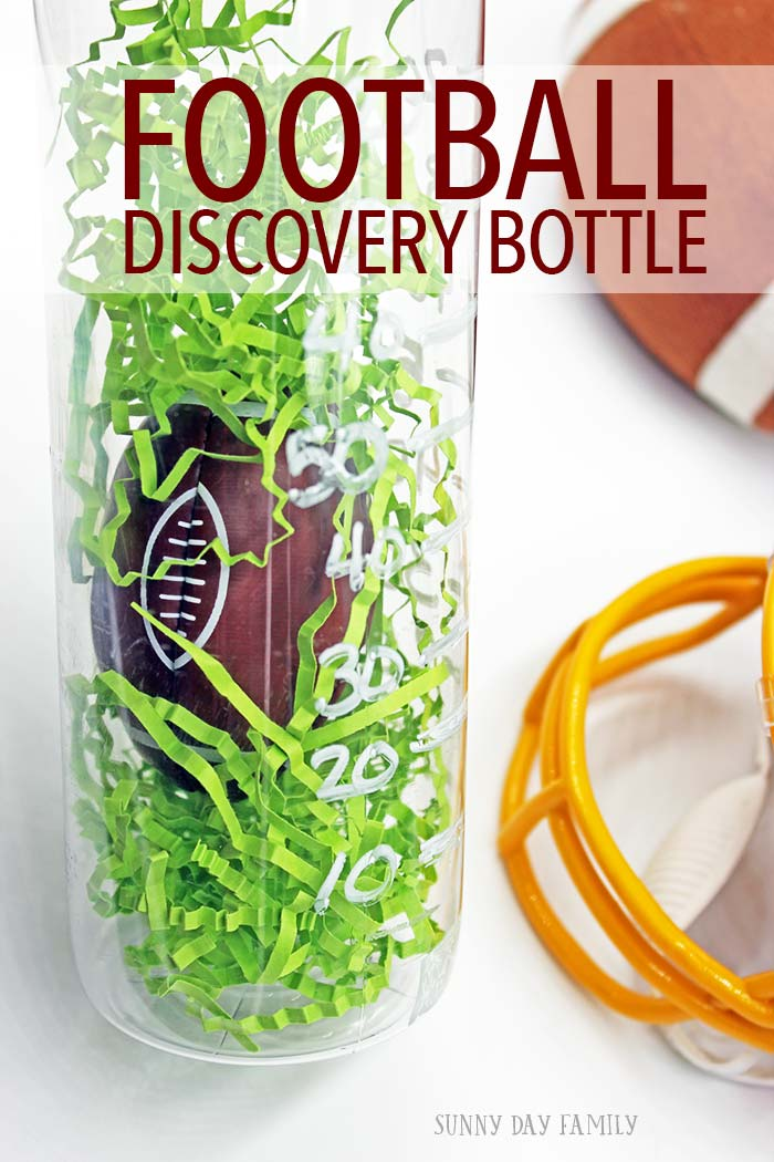 Football fun for kids or adults! This football discovery bottle is great for kids to play and learn counting by 10, or it can be a super fun football party decoration! Also makes a great stress reliever when you're watching the game.
