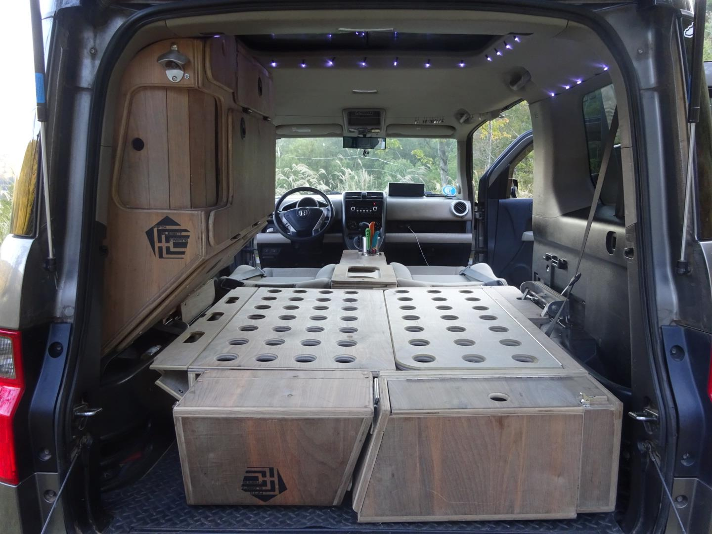 just a car guy nick made his own camper from his honda element cheaper and more reliable than. Black Bedroom Furniture Sets. Home Design Ideas