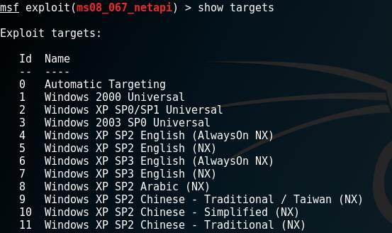 ms08_067_netapi > show target