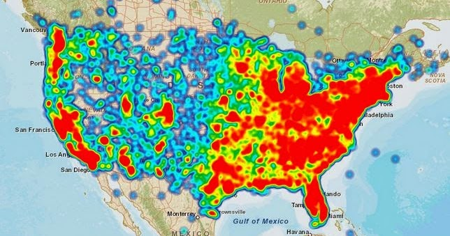 at u0026t coverage map problems heat map