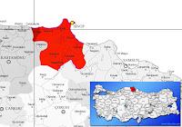 Türkeli ilçesinin nerede olduğunu gösteren harita.