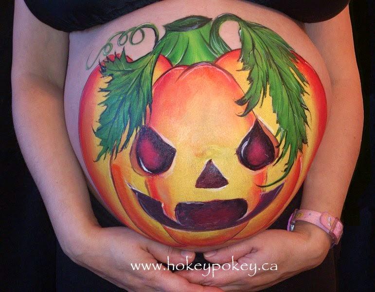 Idée photo drôle de Halloween maman enceinte