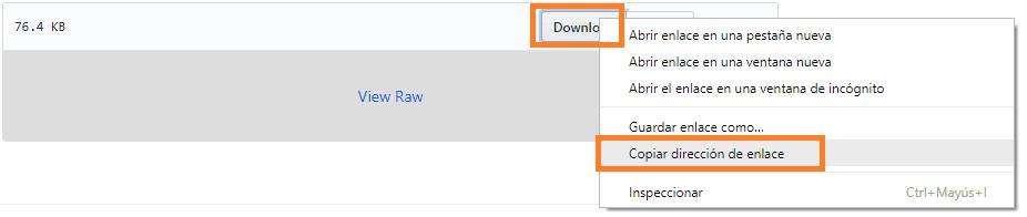clic derecho copiar enlace github
