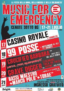 Music For Emergency si svolgerà dal 17 al 21 luglio 2013 a Cenate Sotto