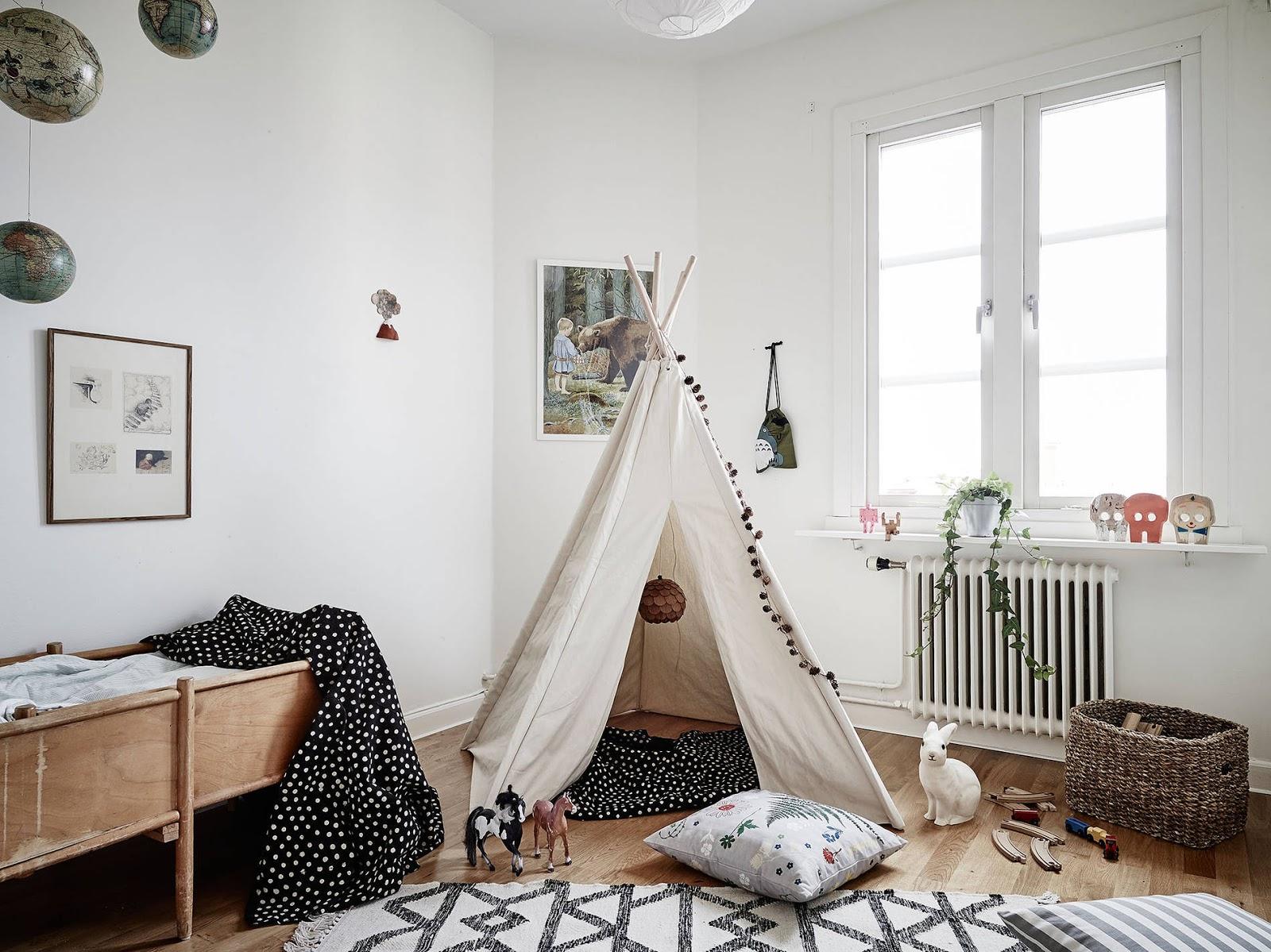 pokój dziecięcy w stylu skandynawskim, styl skandynawski dla dziecka, tipi w pokoju dziecka