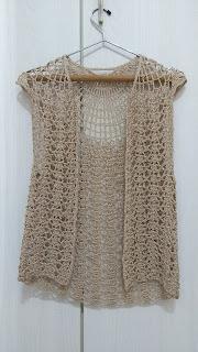 Colete em Crochê - Dourado - Tamanho M