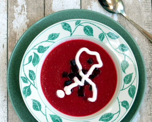 Survivor Soup (Beet, Potato & Cauliflower Soup), bright pink for Breast Cancer Awareness Month ♥ AVeggieVenture.com. Weeknight Easy. Vegan. Weight Watchers Friendly.