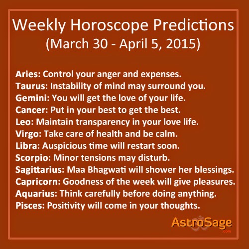 Read about your general weekly horoscope and weekly love horoscope for the upcoming week.