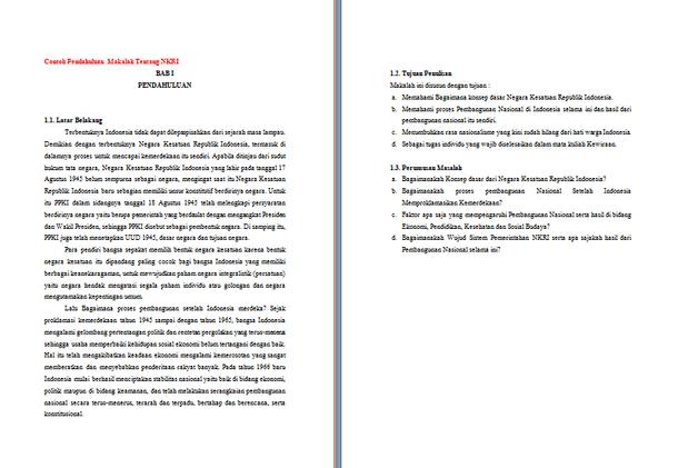 Contoh Pendahuluan Makalah PKn Agama dan Sejarah Format Microsoft Word